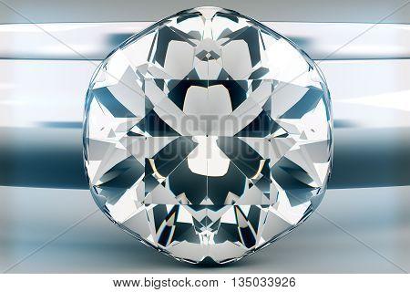 Beautiful sparkling diamond on light grey background. 3D Rendering