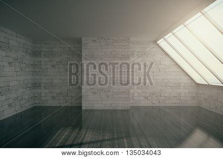 Empty loft interior with brick wall cocrete ceiling dark wooden floor and window.3D Rendering