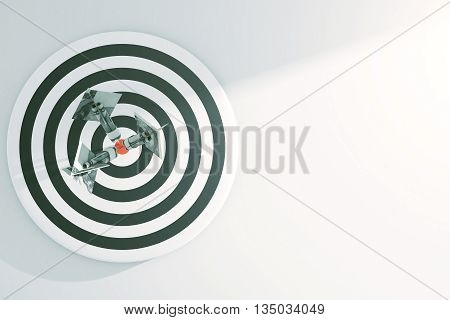Targeting concept with dartboard and dollar banknote darts on light background with copy space. 3D Rendering