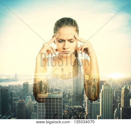Pensive young girl on city background with sunlight. Double exposure