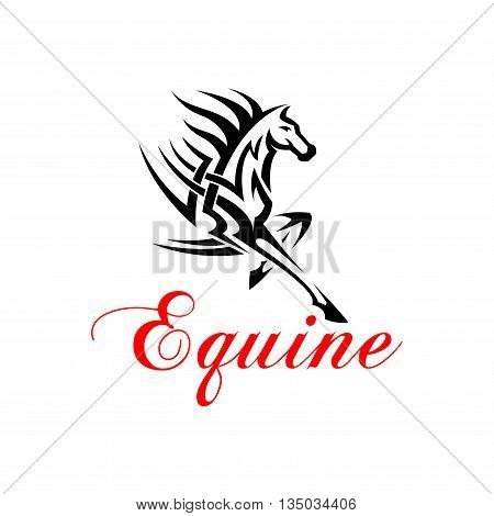 Running horse with outstretched foreleg silhouette with tribal pattern of powerful muscles and flowing mane. Equine themed tattoo or t-shirt print design
