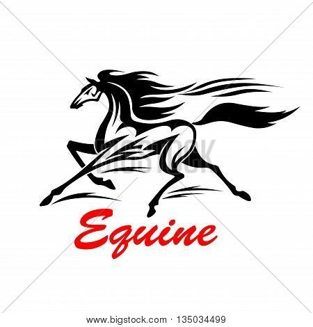 Galloping wild mustang is competing in speed with wind. Tribal stylized animal tattoo design element of running horse with flying mane and tail