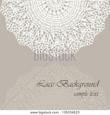 Invitation card with delicate crochet lace round ornament in beige. Vector