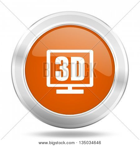 3d display vector icon, orange circle metallic chrome internet button, web and mobile app illustration