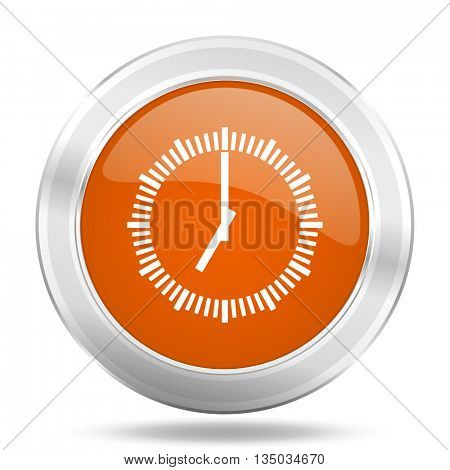 time vector icon, orange circle metallic chrome internet button, web and mobile app illustration