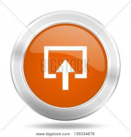 enter vector icon, orange circle metallic chrome internet button, web and mobile app illustration