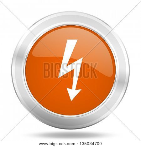 bolt vector icon, orange circle metallic chrome internet button, web and mobile app illustration