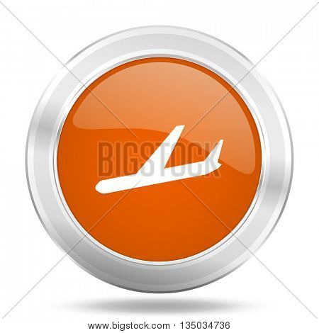 arrivals vector icon, orange circle metallic chrome internet button, web and mobile app illustration