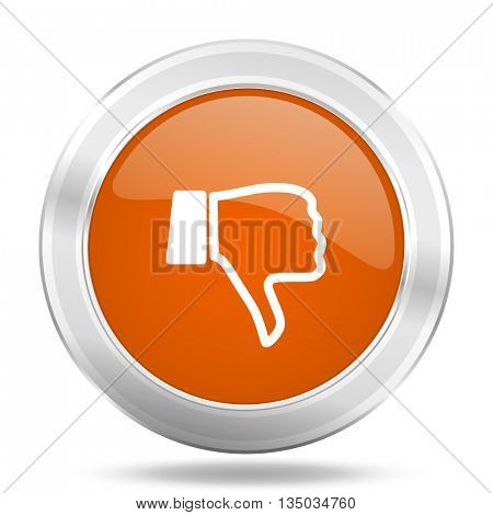 dislike vector icon, orange circle metallic chrome internet button, web and mobile app illustration