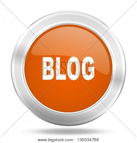 blog vector icon, orange circle metallic chrome internet button, web and mobile app illustration