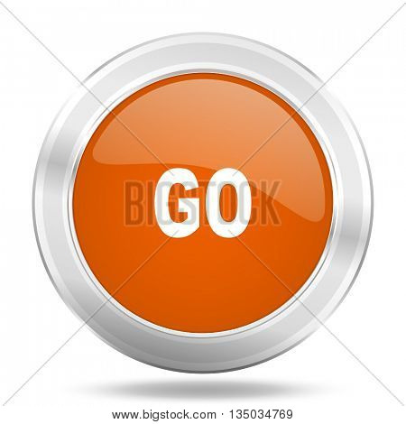 go vector icon, orange circle metallic chrome internet button, web and mobile app illustration