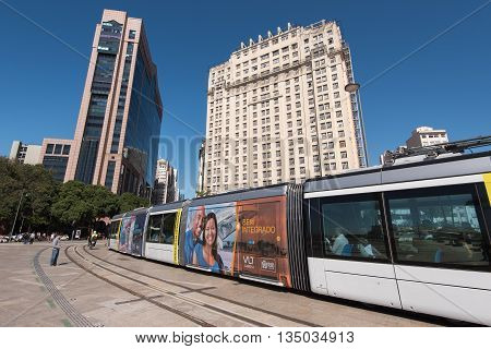 Rio de Janeiro, Brazil - June 13, 2016: New city tram VLT passing Maua Square. Recently inaugurated, it is the newest mode of public transportation, and is free of charge for the first weeks of use.