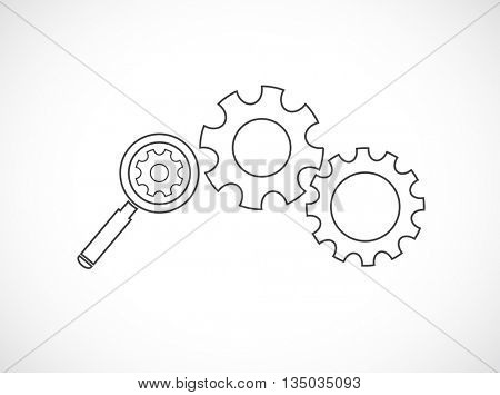 magnifying glass search inside gears - web icon