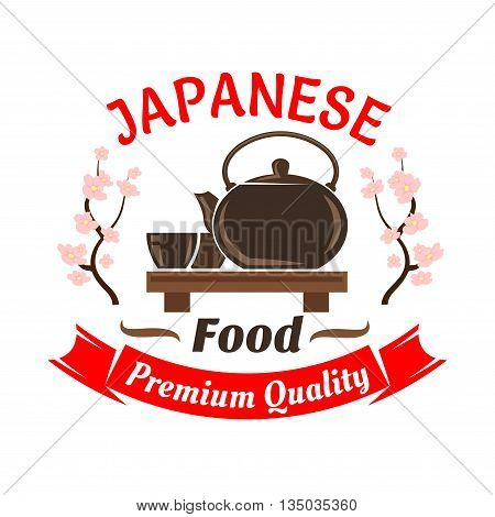 Japanese ceremonial tea set icon for oriental cuisine restaurant design with ceramic teapot and cups on wooden floor table, decorated by blooming sakura and ribbon banner