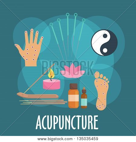 Alternative medicine icon with flat symbols of acupuncture needles, foot and palm with acupoints, incense sticks in holder, candle and essential oil bottles, yin and yang sign, pink flower of sacred lotus. Oriental medicine or spa salon design