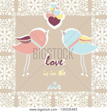 Two pigeons card with love hearts and lace frame. Vector
