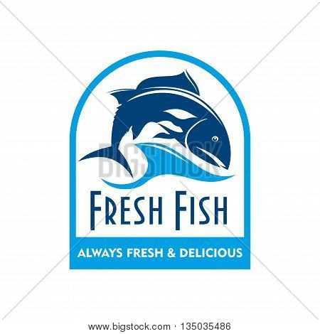 Retro badge of blue silhouette of salmon swimming in sea waves with caption Fresh Fish. Great for food packaging design