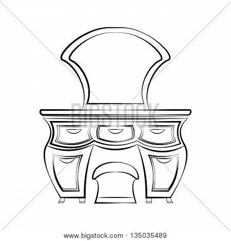 Dressing table with mirror in Art Deco style. Vector sketch