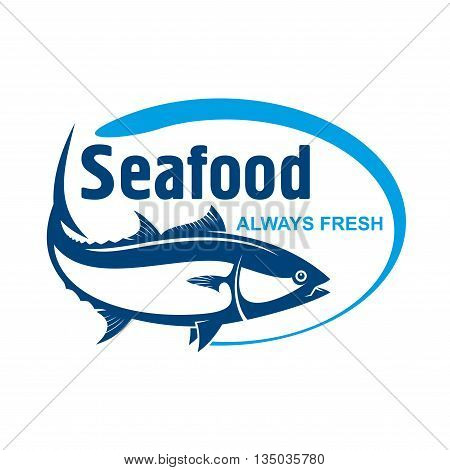 Fish market symbol for promotion label design with retro stylized dark blue icon. Wild alaskan salmon encircled by oval frame with text Seafood and Always Fresh