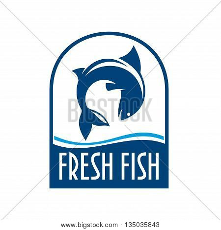 Fresh fish retro stylized symbol for seafood restaurant or fish market signboard design template with fish jumping out of the water