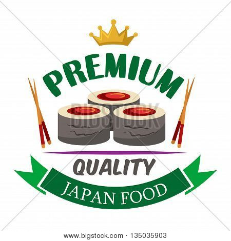 Premium quality japanese food icon of fresh hosomaki sushi rolls filled with marinated tuna, bordered by chopsticks, golden crown and green ribbon banner