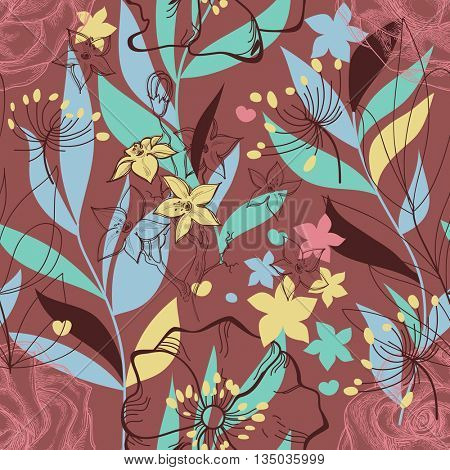 Retro floral seamless pattern. Colorful plants background. Foliage print