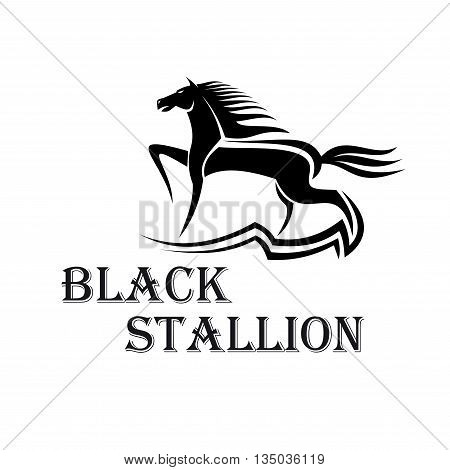 Horse show icon for dressage and show jumping sporting competition design usage with purebred stallion performing a working trot at arena