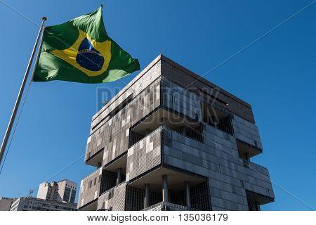Rio de Janeiro, Brazil - June 13, 2016: Petrobras Headquarters Building in downtown Rio de Janeiro, Brazil. A huge modern 70's architecture building has unique facade.