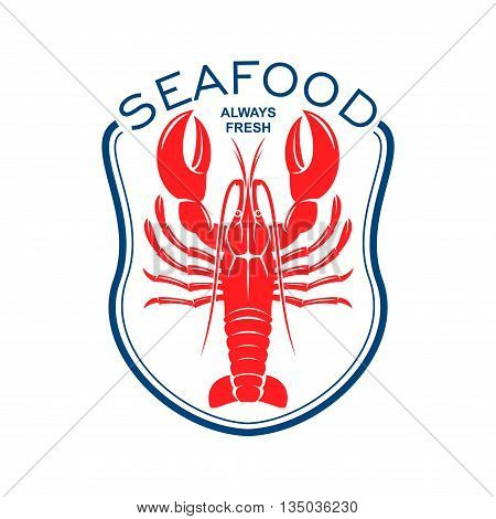 Red lobster icon framed by blue bib topped with caption Seafood. Great for seafood restaurant accessories or cafe menu design