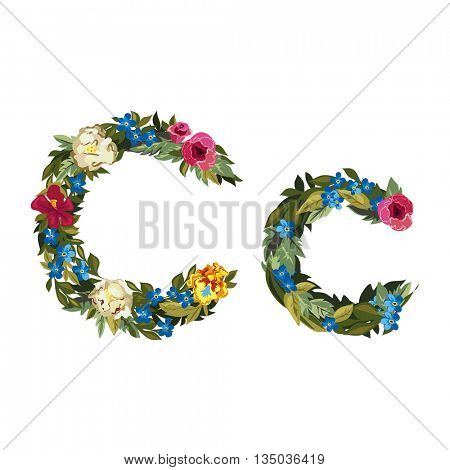 C letter. Flower capital alphabet. Colorful font. Uppercase and lowercase. Vector illustration. Grotesque style. Floral alphabet.
