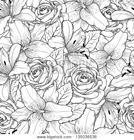 Beautiful seamless background with black and white lily and roses . Hand-drawn contour lines and strokes. Perfect background greeting card and invitations to the day wedding birthday Valentine's Day