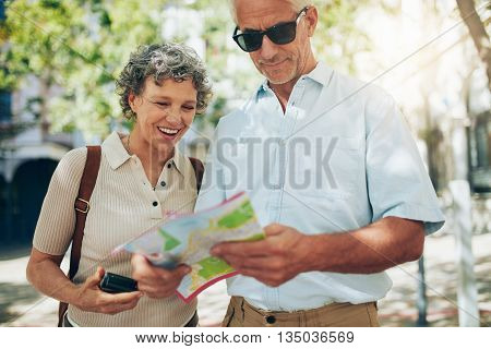 Couple Using A Map On Vacation