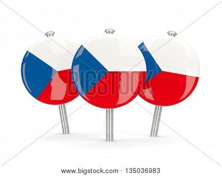 Flag Of Czech Republic, Round Pins