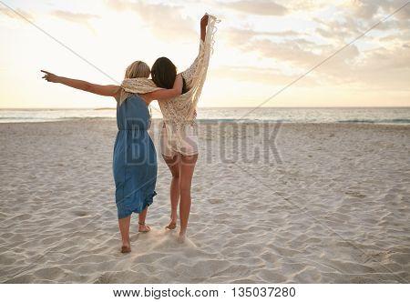 Female Friends Having Fun On The Sea Shore