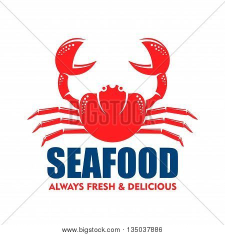 Seafood symbol for restaurant or seafood shop design usage with red silhouette of stone crab with raised claws