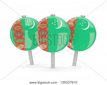 Flag Of Turkmenistan, Round Pins