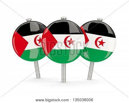 Flag Of Western Sahara, Round Pins