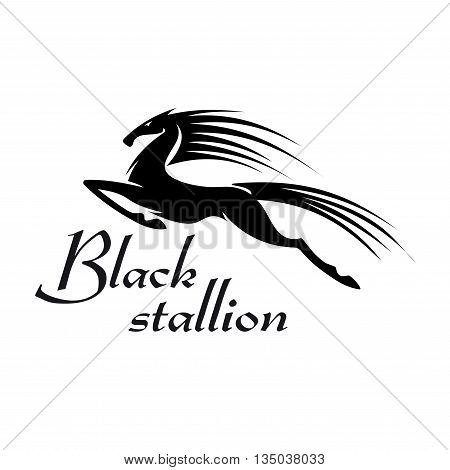 Profile view of horse performing a capriole as mascot for sporting or gambling industry design. Black silhouette of a mare leaps into the air and kicking out with hind legs