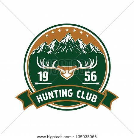 Round retro badge with snowy mountain peaks landscape and large branched deer antlers for hunting or sporting club design decorated by stars, arrows and heraldic ribbon banner
