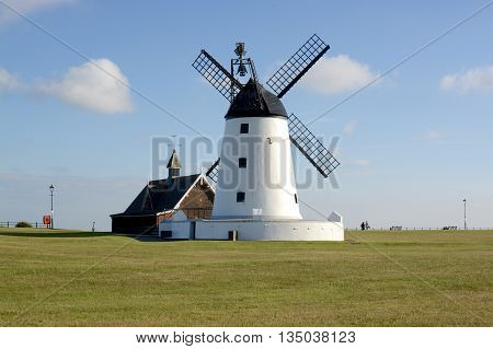 LYTHAM ST ANNES, UK - 18 JUNE 2016: Lytham windmill, designed for grinding wheat and oats, sited at Lytham Green, Lytham St Annes, Lancashire, UK