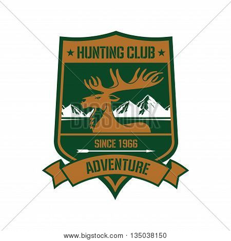 Rocky mountain elk icon with mountain landscape on the background on heraldic shield adorned by ribbon banner with text Hunting Club and Adventure. Sporting badge or insignia design usage