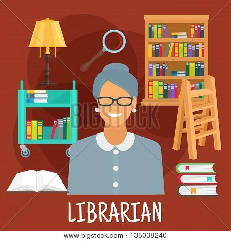 Smiling female librarian symbol for profession design usage with flat icons of library wooden bookshelf and ladder, book cart with vintage lamp, magnifier and variety of books with colorful spines