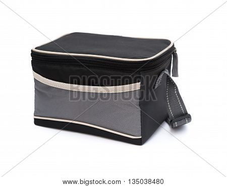 side view grey and black lunch pack carrier on a white background