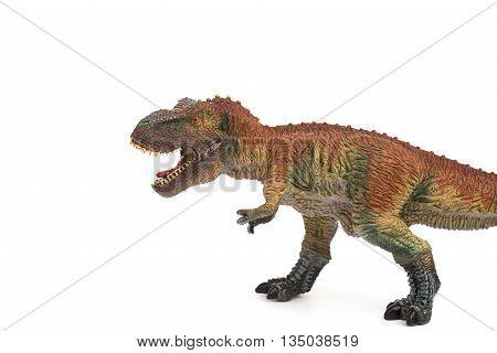 a tyrannosaurus toy on a white background