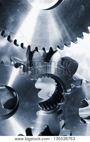 titanium and steel cogwheels and gears, aerospace engineering parts