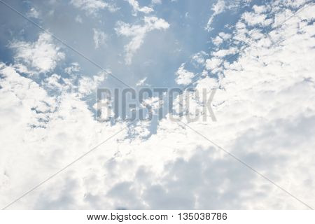 Sunshine Behind White Clouds  Blue Sky Background And Raincloud