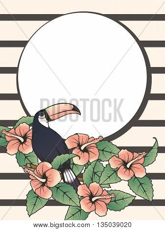 French retro style tropical design with a toucan. Graphics are grouped and in several layers for easy editing. The file can be scaled to any size.