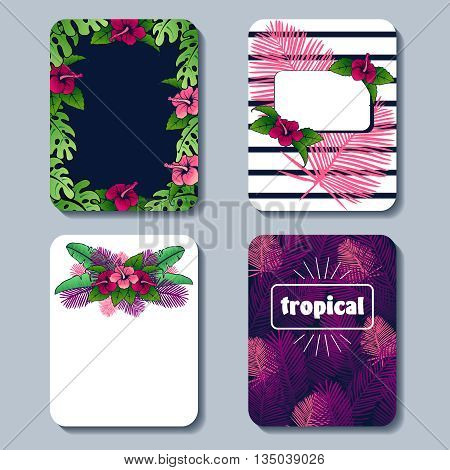 Set of 4 brightly colored line art tropical designs. Graphics are grouped and in several layers for easy editing. The file can be scaled to any size.