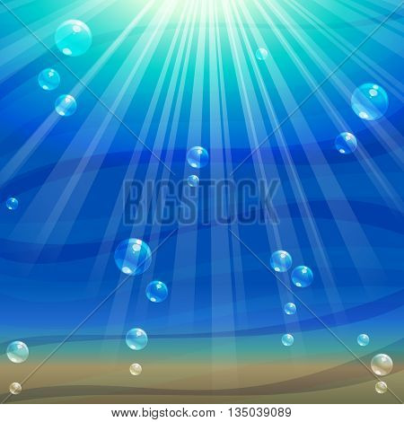 Simple, elegant underwater background with bubbles. Graphics are grouped and in several layers for easy editing. The file can be scaled to any size.