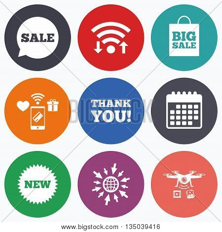 Wifi, mobile payments and drones icons. Sale speech bubble icon. Thank you symbol. New star circle sign. Big sale shopping bag. Calendar symbol.
